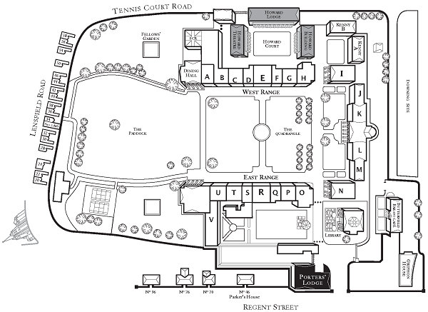 Plan of Downing College, 2014