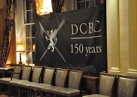 DCBC's 150th anniversary banner hanging in Watermen's Hall