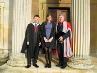 Barry Everitt with the JCR and MCR Presidents