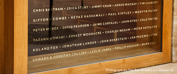 Donors' names on Battcock House, Photograph by Tim Rawle and Louis Sinclair ©